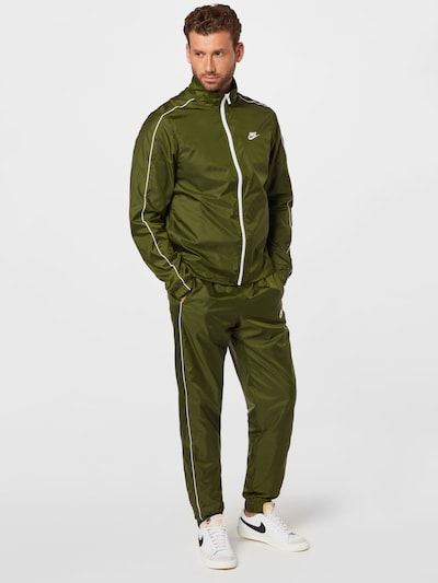 Nike Sportswear Trainingsanzug in oliv / weiß: Frontalansicht