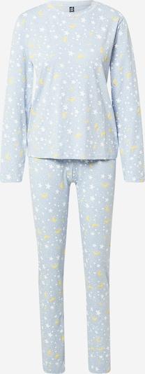 PIECES Pyjama 'ALBA' in de kleur Lichtblauw / Lichtgeel / Wit, Productweergave