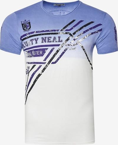 Rusty Neal T-Shirt aus weicher Baumwolle in blau / weiß: Frontalansicht