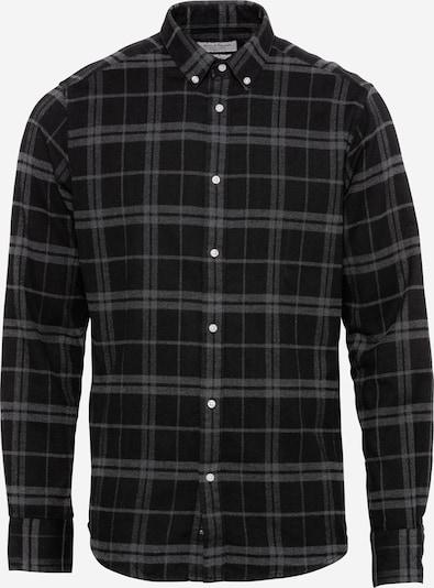 Bruun & Stengade Hemd 'Hamza' in grau / schwarz, Produktansicht