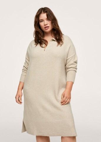 MANGO Gebreide jurk 'Volt' in Beige