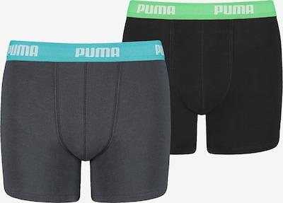 PUMA Boxershorts in aqua / grau / grasgrün / schwarz, Produktansicht