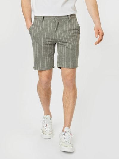 BLEND Pantalon chino en gris chiné / blanc, Vue avec modèle
