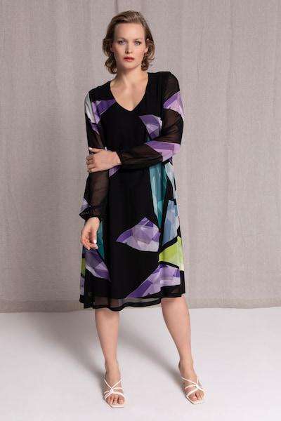 Ulla Popken Kleid in gelb / smaragd / dunkellila, Modelansicht