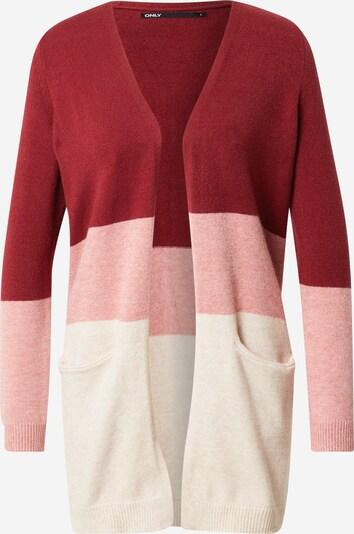 ONLY Cardigan 'QUEEN' in beige / pink / dunkelrot, Produktansicht