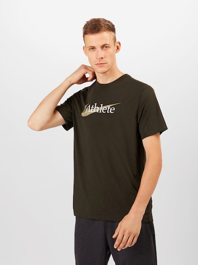 NIKE Functioneel shirt 'Athlete' in de kleur Olijfgroen / Donkergroen / Wit: Vooraanzicht