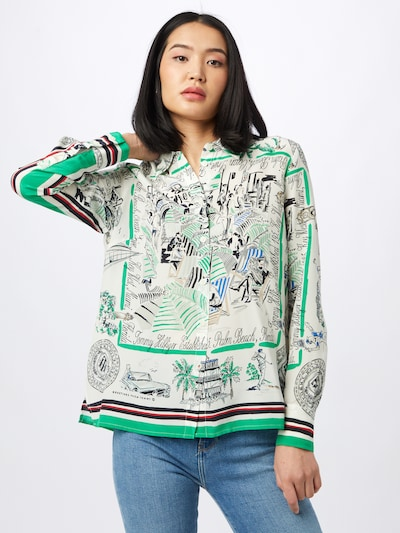 TOMMY HILFIGER Blouse in light green / red / black / white: Frontal view
