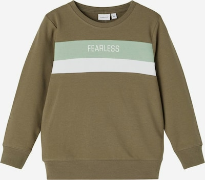 NAME IT Sweat en pierre / vert pastel / blanc, Vue avec produit