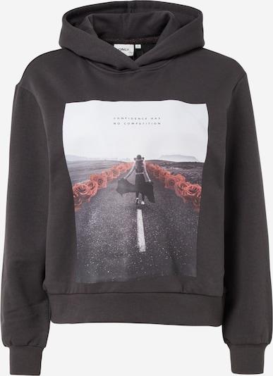 ONLY Sweatshirt 'BLOOM' in grau / anthrazit / rot / weiß, Produktansicht