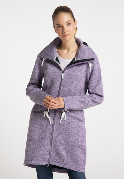 ICEBOUND Knitted Coat in Purple / White, View model