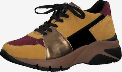 TAMARIS Sneaker in dunkelgelb / gold / kirschrot / schwarz: Frontalansicht