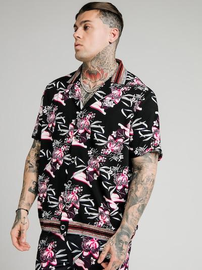 Marškiniai iš SikSilk, spalva – rožinė / juoda / balta, Modelio vaizdas