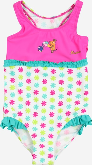 PLAYSHOES Swimsuit 'DIE MAUS' in yellow / jade / fuchsia / white, Item view