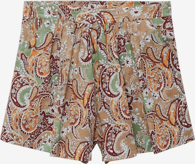 Pantaloni 'PARADISE' MANGO pe verde jad / portocaliu / roșu ruginiu / alb, Vizualizare produs