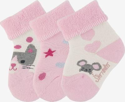 STERNTALER Socken 'Katze' in creme / grau / pink / rosa, Produktansicht