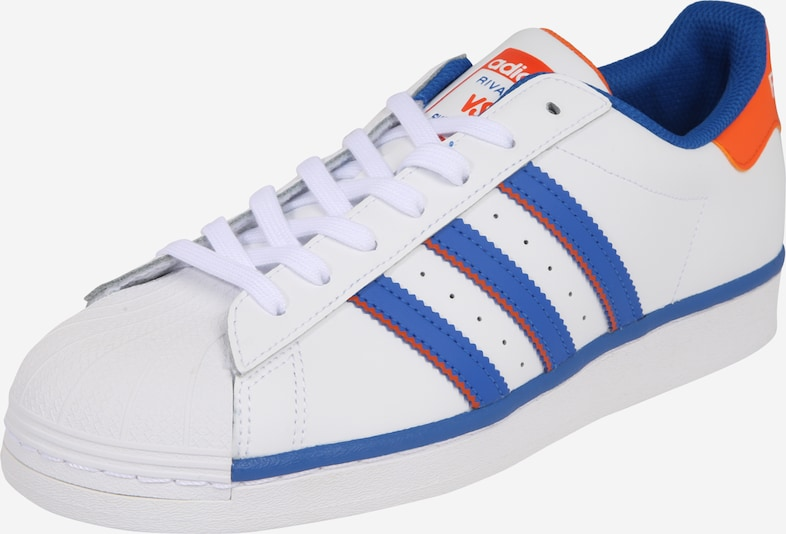 ADIDAS ORIGINALS Baskets basses 'SUPERSTAR' en bleu / orange / blanc, Vue avec produit