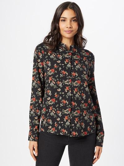 Brava Fabrics Blouse 'Dalia' in de kleur Beige / Donkergroen / Oranjerood / Zwart, Modelweergave