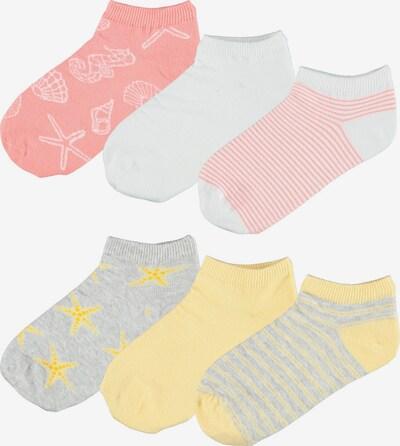 NAME IT Къси чорапи 'Fairy' в жълто / сив меланж / светлочервено / бяло, Преглед на продукта