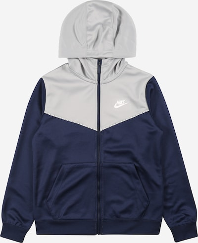 Nike Sportswear Veste de sport 'Repeat' en bleu marine / gris / blanc, Vue avec produit