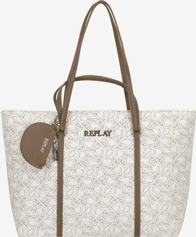 REPLAY Shopper in de kleur Taupe / Wit, Productweergave