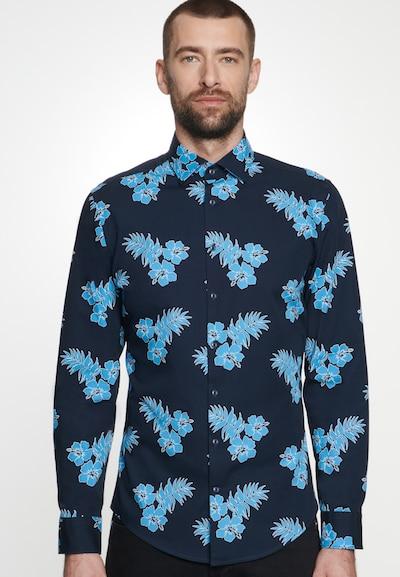 SEIDENSTICKER Hemd in hellblau / dunkelblau: Frontalansicht