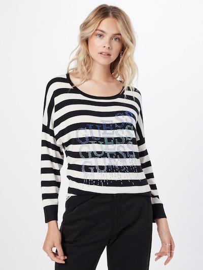 GUESS Пуловер 'CLAUDINE' в лазурно синьо / опал / небесносиньо / черно / бяло: Изглед отпред