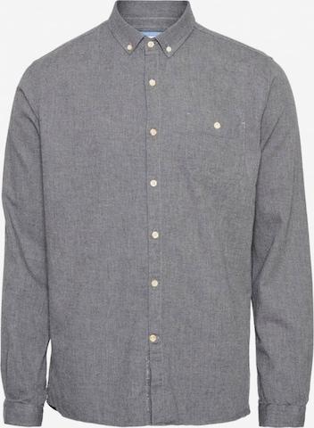 KnowledgeCotton Apparel Hemd ' Elder regular fit melange flannel shirt ' in Grau