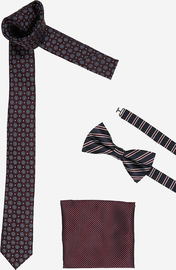 JACK & JONES Cravate 'BENJAMIN' en bleu marine / bleu fumé / orange / lie de vin / blanc, Vue avec produit