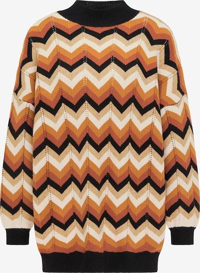 myMo NOW Pullover in rostbraun / cappuccino / hellbraun / pastellrot / schwarz, Produktansicht