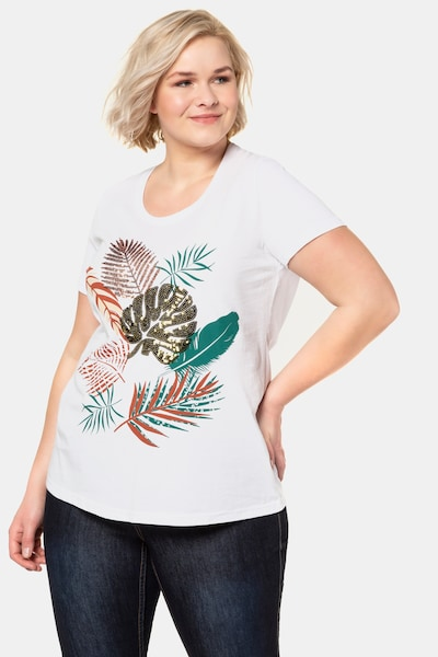 Ulla Popken Shirt in mischfarben / weiß: Frontalansicht