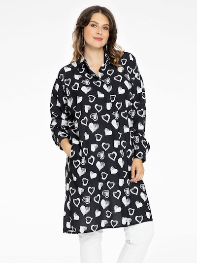 Yoek Blusenkleid 'Hearts' in schwarz / weiß, Modelansicht