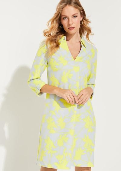 COMMA Kleid in neongelb / hellgrau, Modelansicht