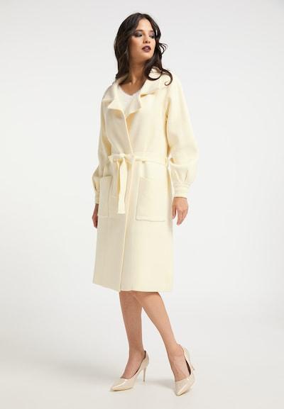 faina Pleten plašč | volneno bela barva, Prikaz modela