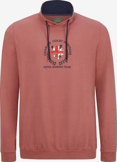 Charles Colby Sweatshirt 'Earl Manners' in de kleur Nachtblauw / Rood / Grenadine / Wit, Productweergave