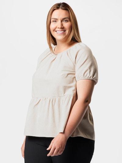 Vero Moda Curve Bluse in beige / dunkelbeige, Modelansicht