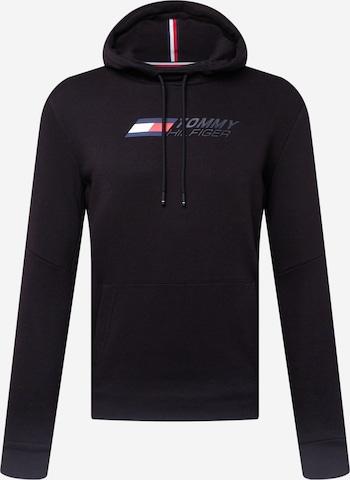 Tommy Sport Sportsweatshirt 'LOGO FLEECE HOODY' i svart