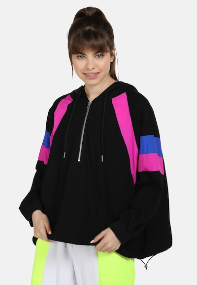 myMo ATHLSR Trainingsjack in de kleur Blauw / Pink / Zwart: Vooraanzicht