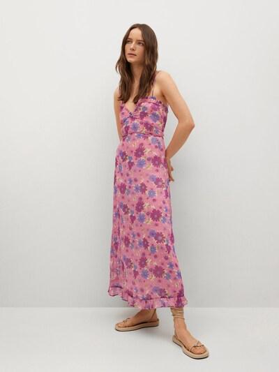 MANGO Kleid 'BAHIA' in creme / hellgrün / violettblau / pink, Modelansicht