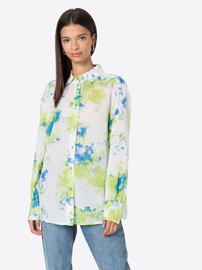 UNITED COLORS OF BENETTON Bluse in blau / apfel / weiß, Modelansicht