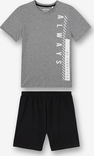 SANETTA Pyjama in grau / schwarz / weiß, Produktansicht