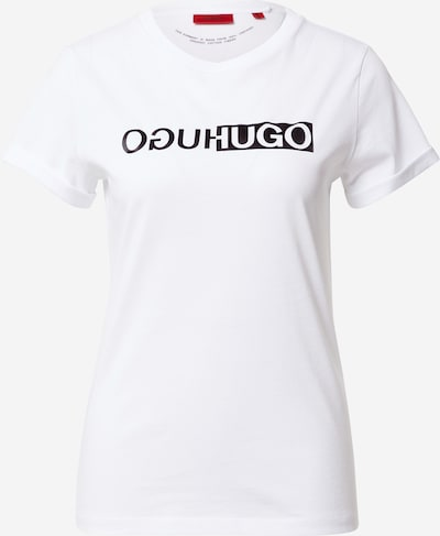 HUGO Тениска в черно / мръсно бяло, Преглед на продукта