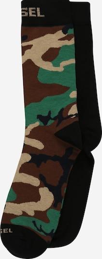 DIESEL Sockor 'HERMINE' i ljusbrun / grön / khaki / svart, Produktvy