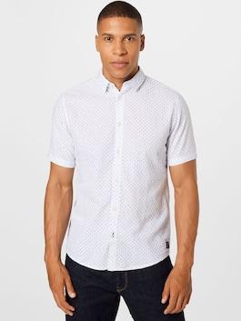 TOM TAILOR Košeľa v bielej / námorníckej modrej farbe s jemným vzorom