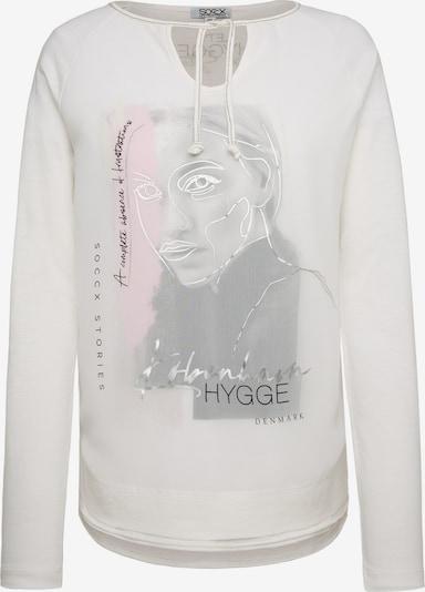 Soccx Shirt mit Layering und Artwork in weiß, Produktansicht