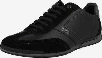 melns BOSS Casual Sporta apavi ar šņorēm 'Saturn'
