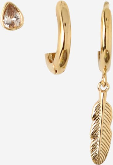 Orelia Ohrringe 'Feather Teardrop Ear Party' in gold, Produktansicht