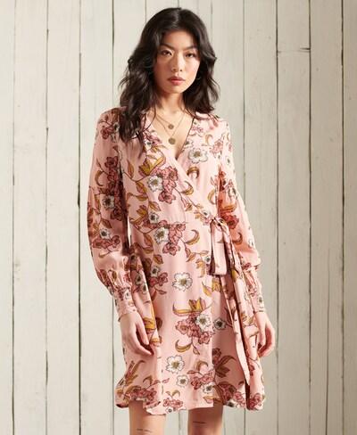 Superdry Kleid 'Bohemian' in hellbraun / pink / dunkelrot / weiß, Modelansicht
