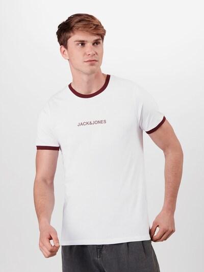 JACK & JONES Shirt in de kleur Bordeaux / Wit: Vooraanzicht