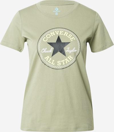 CONVERSE Shirt 'Nova' in de kleur Pasteelgeel / Olijfgroen / Zwart / Wit, Productweergave