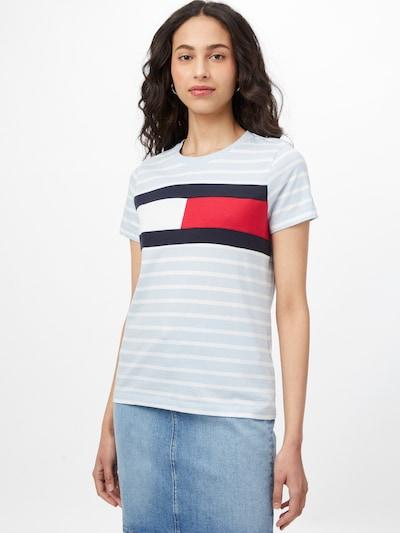 TOMMY HILFIGER Тениска в нощно синьо / светлосиньо / червено / бяло: Изглед отпред